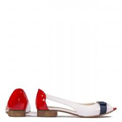 Biało-czerwone skórzane baleriny z wycięciem na bokach 57B1