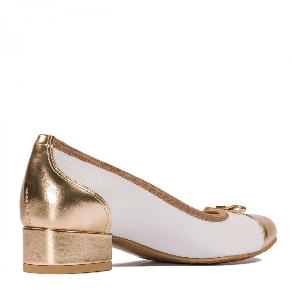 Biało-złote skórzane baleriny z kokardką na przodzie 57G