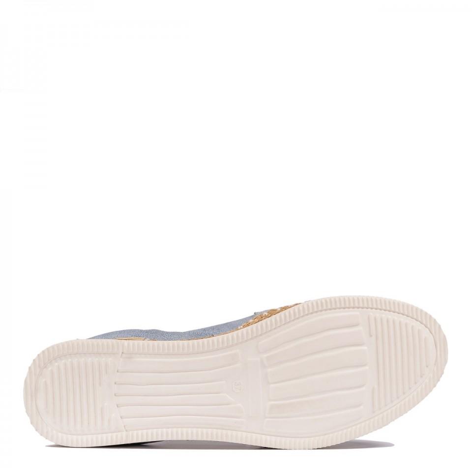 Biało-niebieskie skórzane espadryle