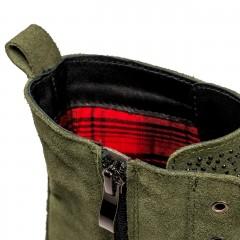 Zamszowe wiązane botki koloru khaki z cyrkoniami na przodzie