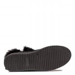 Czarne płaskie welurowe botki z futerkiem