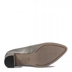 Perłowo-szare skórzane czółenka na niskim słupku