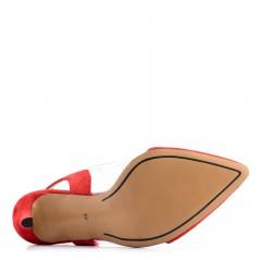 Czerwone zamszowe czółenka z silikonu bez pięty