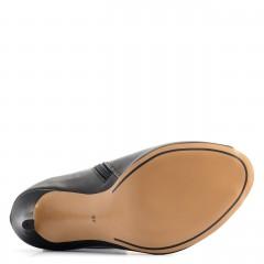 Czarne skórzane botki na szpilce open toe