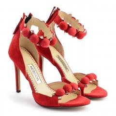 Czerwone zamszowe sandały z kulkami 103A