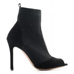 Czarne letnie botki bez palców z tkaniny socks na szpilce