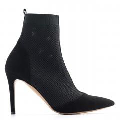 Czarne letnie botki z tkaniny typu socks na wysokim obcasie