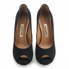Czarne zamszowe szpilki open toe na platformie
