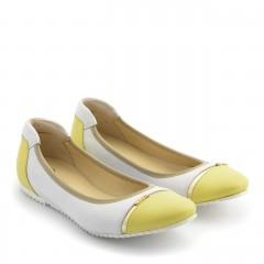 Biało żółte skórzane baleriny ze złotym paskiem