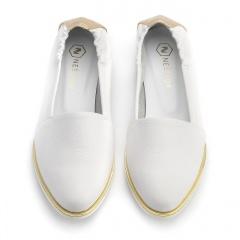 Białe skórzane baleriny ze złotą obwódką