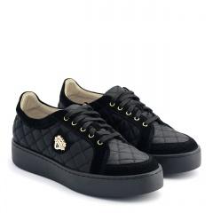 Czarne pikowane buty sportowe 63P