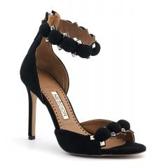 Czarne zamszowe sandały z kulkami