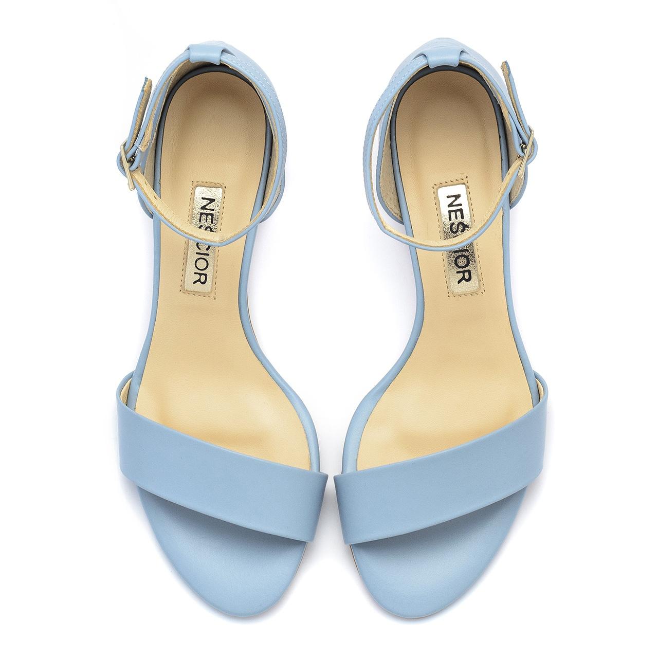 Niebieskie skórzane sandały na mozaikowym obcasie 23S