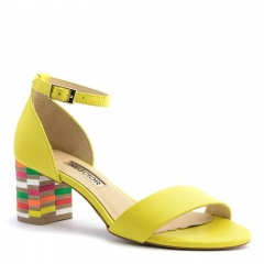 Żółte skórzane sandały na mozaikowym obcasie