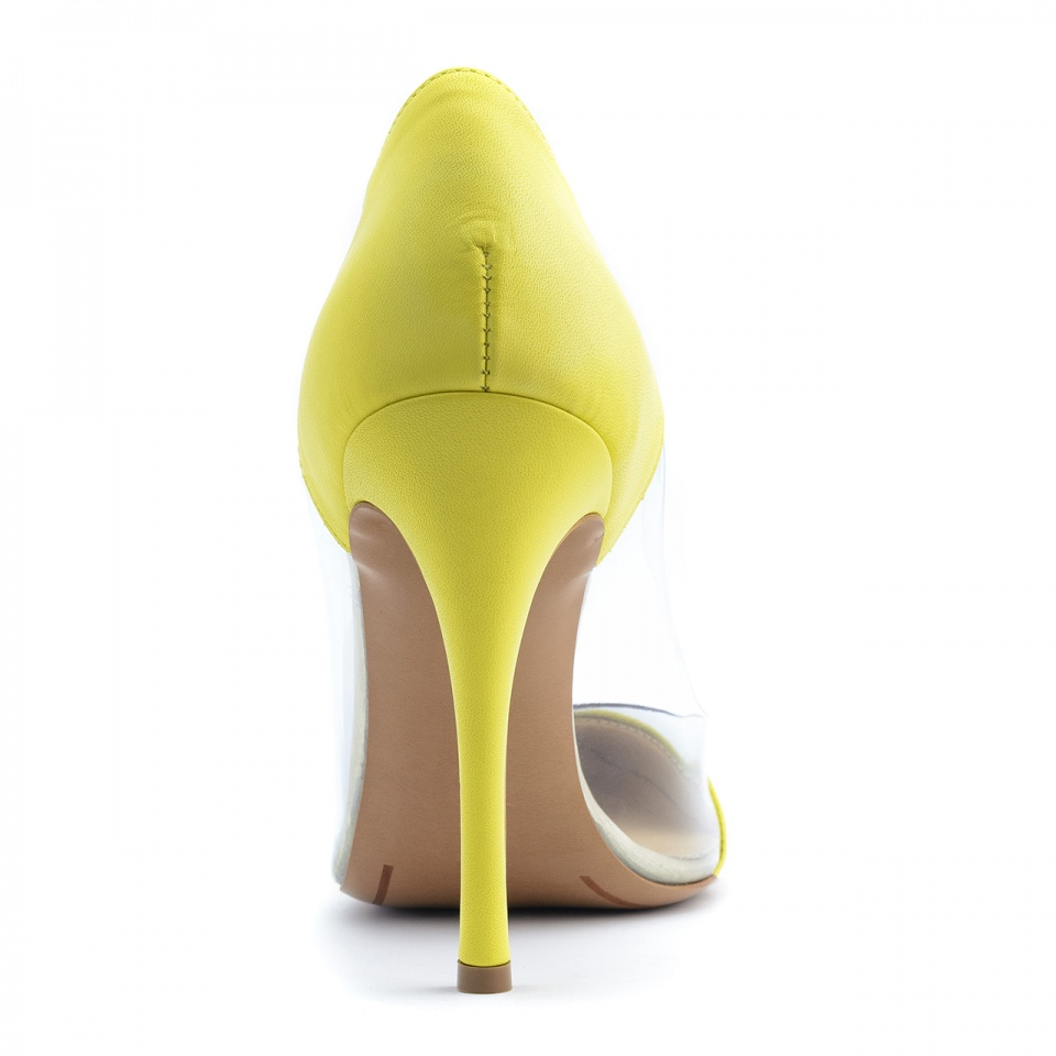 Żółte skórzane szpilki z silikonu