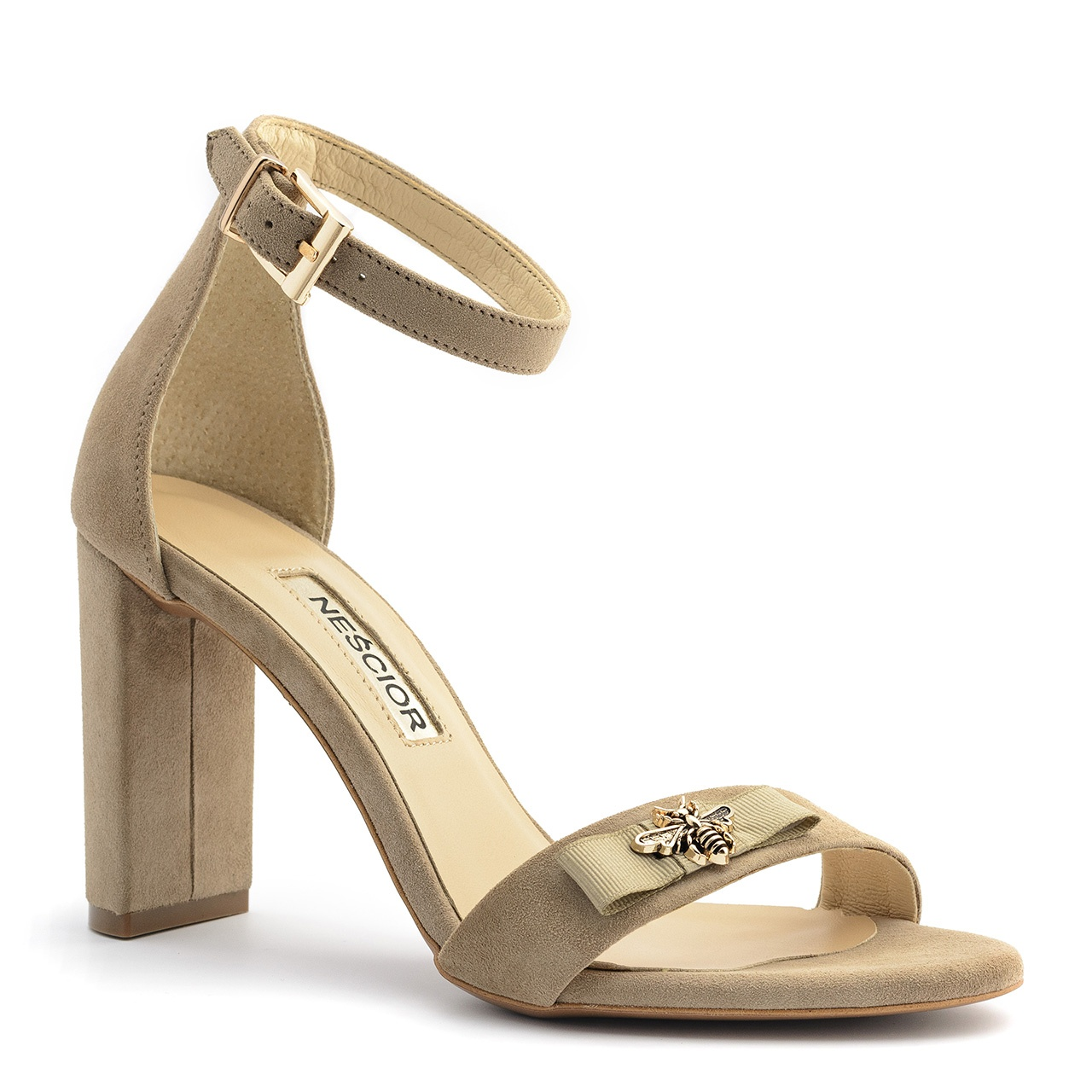 d7e6000a4c8ffa Beżowe zamszowe sandały na słupku 33P - Neścior Sklep Firmowy