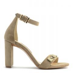 Beżowe zamszowe sandały na słupku