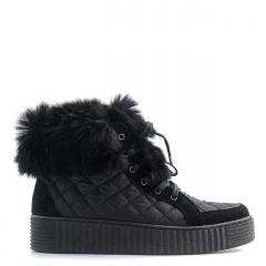 Czarne sznurowane pikowane botki z futerkiem