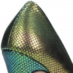 Tęczowe wężowe skórzane szpilki na wysokim obcasie