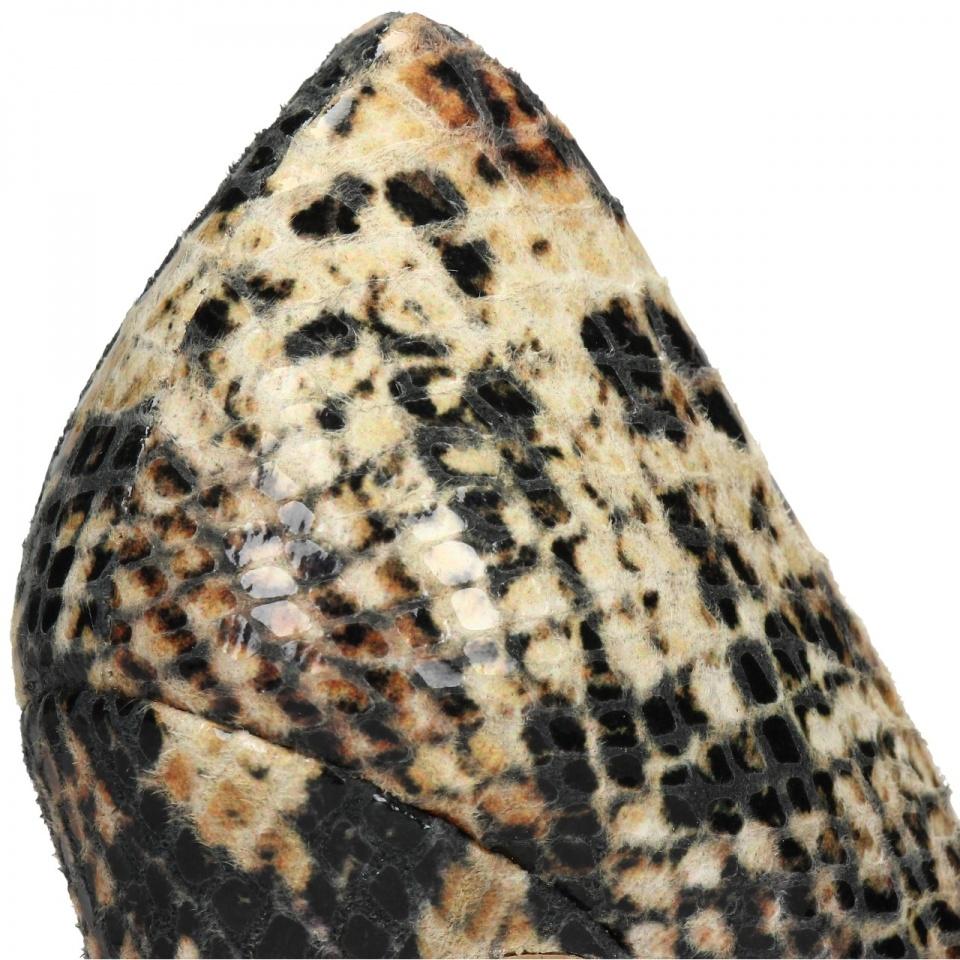 Węzowe skórzane szpilki na wysokim obcasie