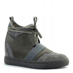 Szare sneakersy socks ze skórzanymi wstawkami