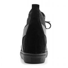 Czarne sportowe sneakersy socks ze skórzanymi wstawkami