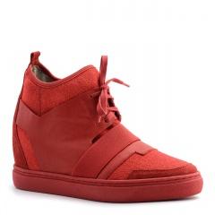 Czerwone sportowe sneakersy socks ze skórzanymi wstawkami