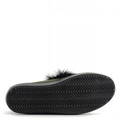 Zamszowe slipony koloru khaki z czarnym futerkiem