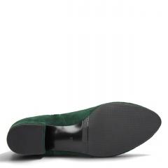 Zielone zamszowe botki z kokardką na cholewce 28B