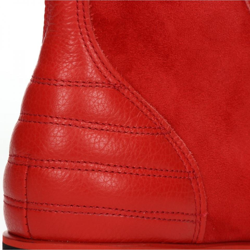 Czerwony  skórzany sportowy but sportowy za kostkę 77H