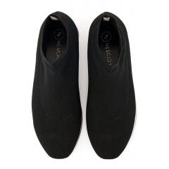 Czarne sportowe sneakersy socks na białej podeszwie