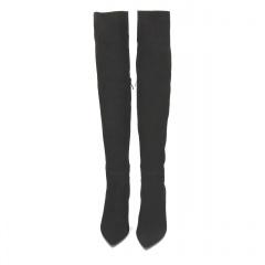 Czarne  zamszowe kozaki za kolano na wysokiej szpilce 105K