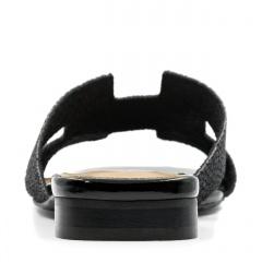 Czarne eleganckie skórzane klapki 82H