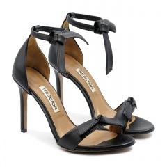 Czarne zawiązywane w kostce skórzane szpilki sandały 103K