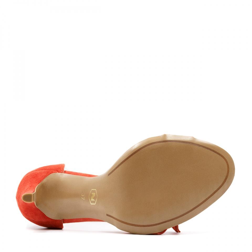 Pomarańczowe zawiązywane w kostce zamszowe szpilki sandały 103K