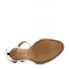 Srebrne skórzane szpilki sandały zapinane wokół kostki 103P