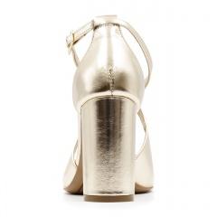 Złote skórzane sandały na słupku 33A