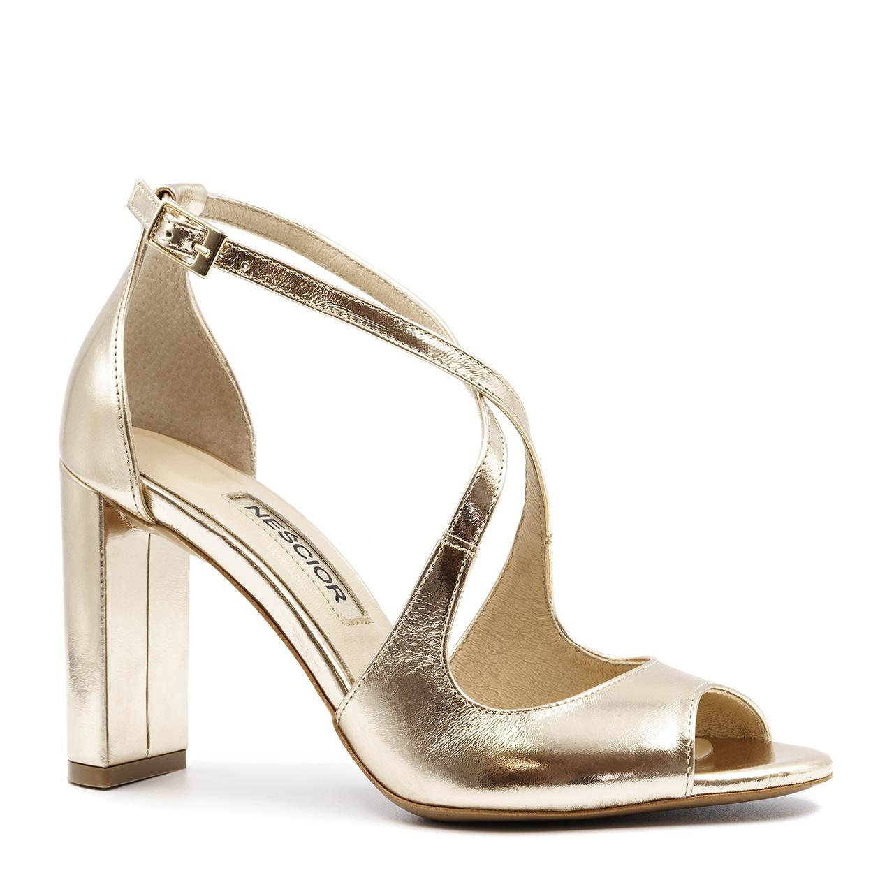 5f66629554408 Złote skórzane sandały na słupku 33A - Neścior Sklep Firmowy
