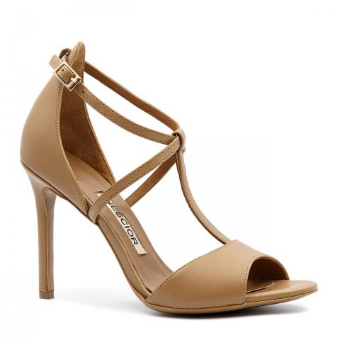 4e3ffe96b15f2 Rude skórzane sandały na szpilce ze skrzyżowanymi paseczkami 103B ...