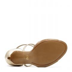 Złote skórzane sandały na szpilce ze skrzyżowanymi paseczkami 103B