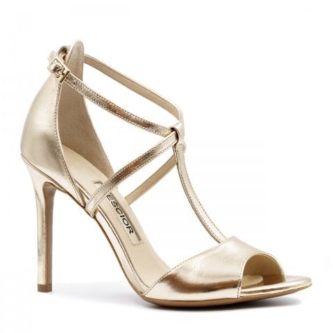 56ea285e Złote skórzane sandały na szpilce ze skrzyżowanymi paseczkami 103B ...