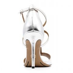 Srebrne skórzane sandały na szpilce ze skrzyżowanymi paseczkami 103B