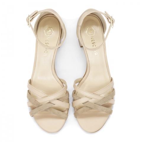 63cc0926afa2b Beżowe skórzane sandały na ozdobnym obcasie 268B Beżowe skórzane sandały na  ozdobnym obcasie 268B