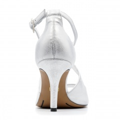 Srebrne skórzane szpilki sandały ze skrzyżowanymi paseczkami 114E
