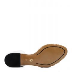 Srebrne skórzane sandały z zakrytą piętą na ozdobnym obcasie 85B