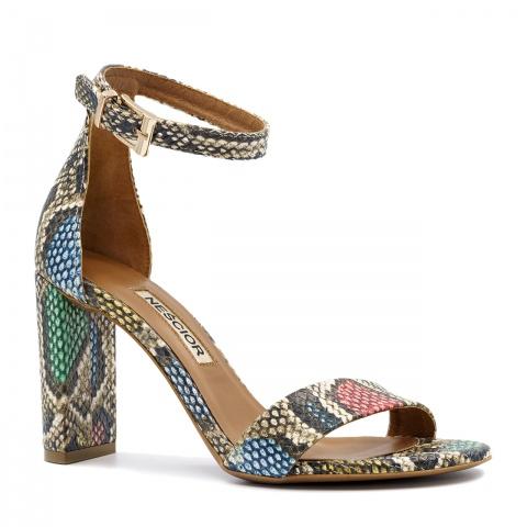 5579688a Wężowe wielokolorowe skórzane sandały na wysokim słupku 33G ...