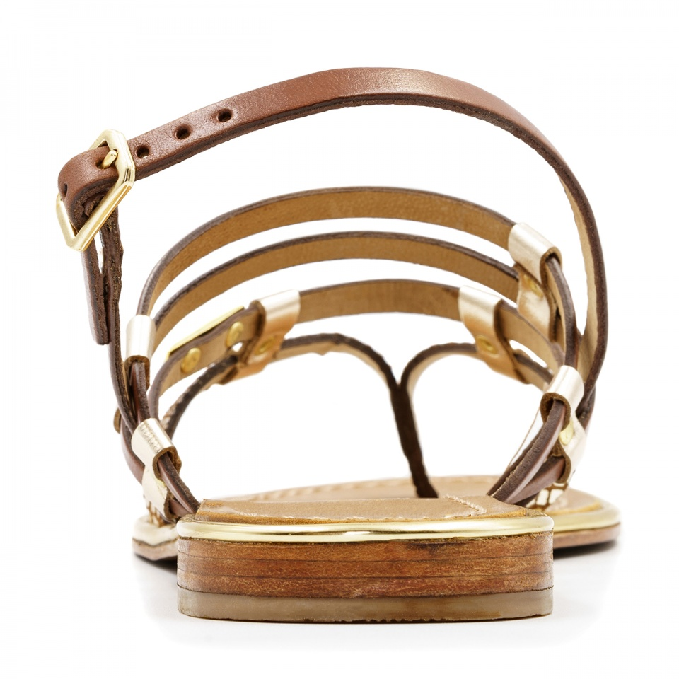 Brązowo złote skórzane sandały 2553