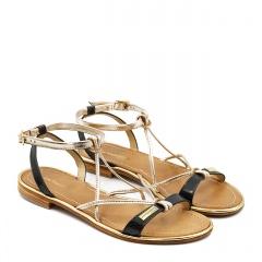 Czarno złote skórzane sandały 11510