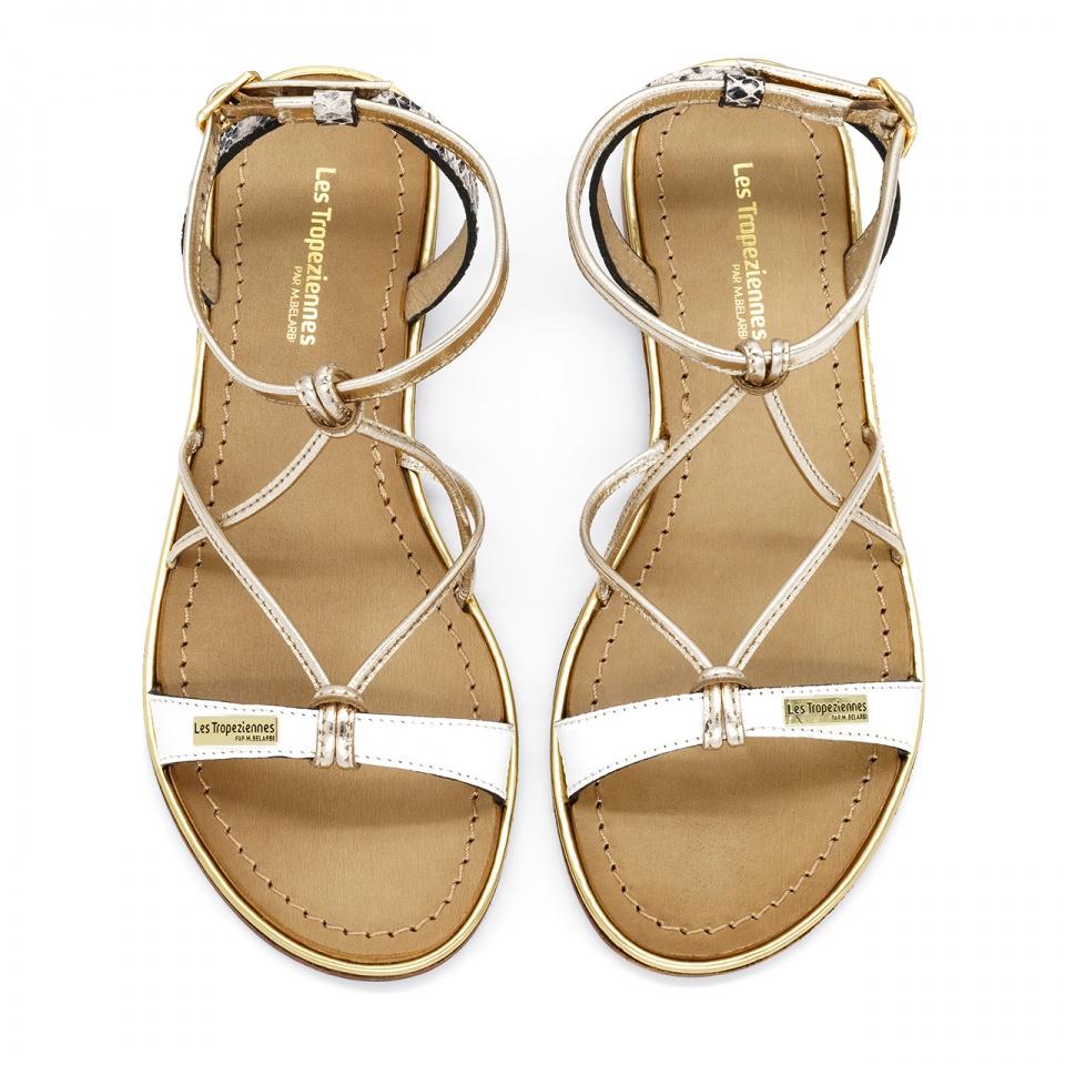 Biało złote skórzane sandały 11515