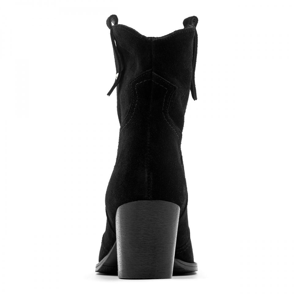 Czarne welurowe botki w stylu country na niskim obcasie 36A